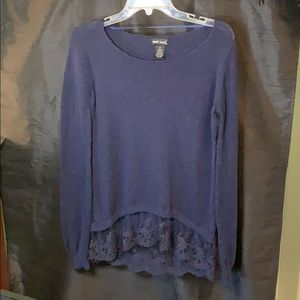 "Long sleeve Dark Blue "" V"" Neck Sweater"